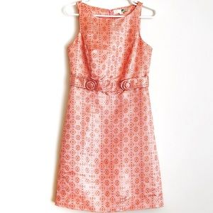 F21 Design Pink/Gold Geo Lux Satin Sheath Dress